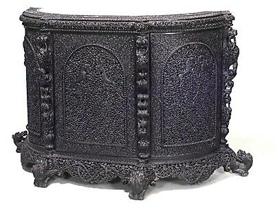 Asian Burmese Style (19th Cent) Carved & Filigree Rosewood Sideboard
