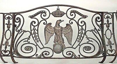 French Empire style (19th Cent) iron and bronze trimmed railing with scroll desi