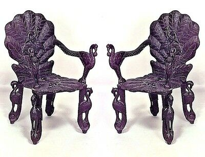 Pair of Asian Burmese Style (19th Cent) Ebonized Carved Arm Chairs