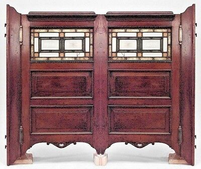 Pair of American Victorian mahogany swinging bar doors with leaded and colored g