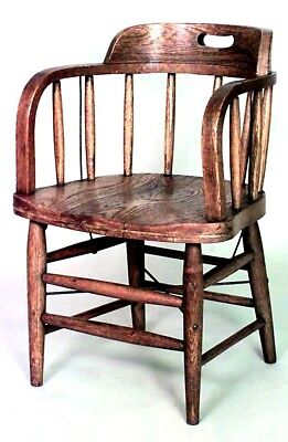 American (19/20th Cent) Oak Captains Style Arm Chairs