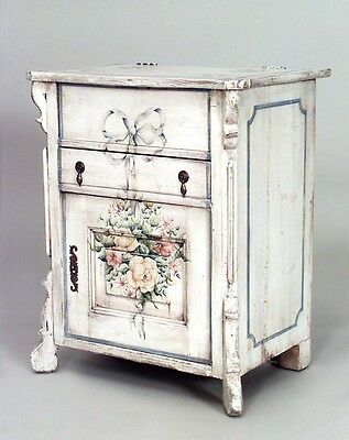 English Country Painted Bedside Commode with Floral Design (19/20th Cent.)