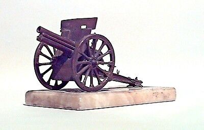 French bronze World War I Field Cannon on Rectangular White Marble Base