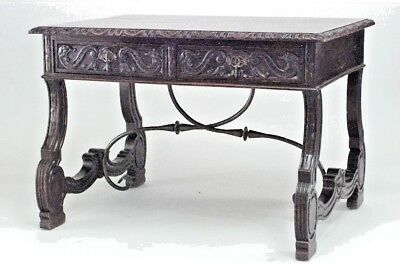 Italian Renaissance Style (19th Cent) Carved Oak Table Desk