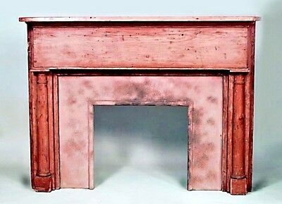 American Country style (19/20th Cent) stripped pine fireplace mantel  with colum