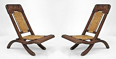 Pair of Asian Burmese (19th Cent.) Teak Carved Folding Campaign Style Side Chair