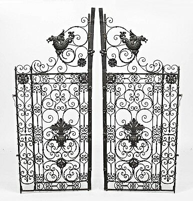 Pair of Italian Renaissance Style (19th Cent) Black Iron Scroll Design Gates