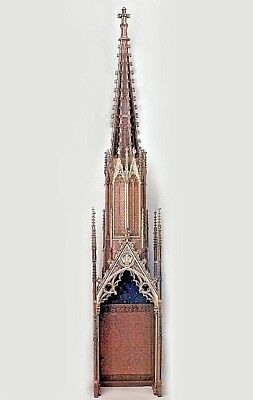 Dutch Gothic Style (19th Cent) Oak and Gilt Filigree Carved 4 Section Steeple