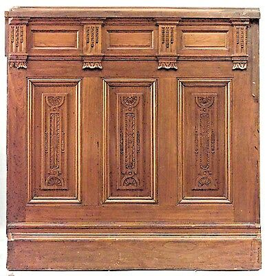 """American Victorian walnut carved panelled room with 54"""" dado (14 sections) (Belm"""