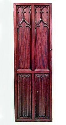 Pair of English Gothic Revival style (19th Cent) mahogany doors with linen fold