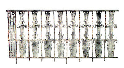 9 French Art Deco iron railings with scroll design. Approx. 53 1/2 feet running