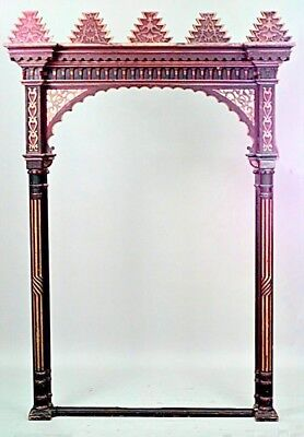 Moorish (19/20th Cent.) Red & Gold Painted Large Archway with Geometric Design