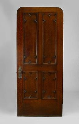 English Gothic Revival style oak carved door with 4 wood panels (19th cent.)