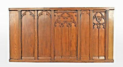 2 English Gothic Revival style (19th Cent) oak paneled railings (PRICED EACH) on