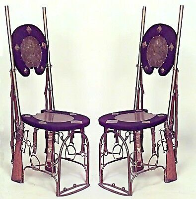 Pair of English Victorian (19/20th Cent.) Military Style Brass Side Chairs