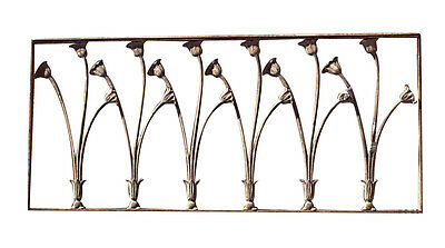 French Art Nouveau painted iron railing with lily design