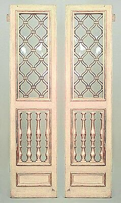 Pair of Italian Neo-classic style parcel gilt & cream painted doors with leaded