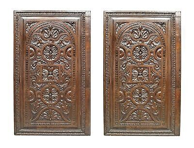 Pair of English Renaissance style walnut carved wall panels (19th Cent)