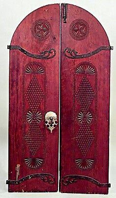 Pair of Middle Eastern Moorish pine arch top doors with wrought iron scroll desi