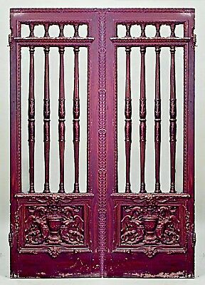 2 Pair of French Victorian painted doors with glass and spindle design and carve