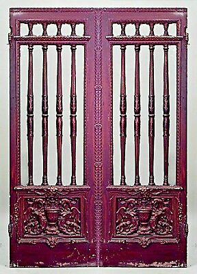 Pairs of French Victorian Painted Doors with Glass and Spindle Design