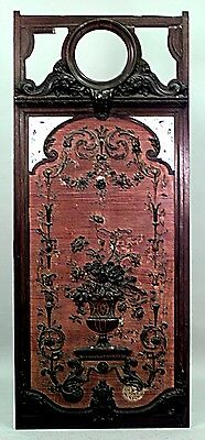 French Victorian Small Carved Walnut Framed Panel with Pink Porcelain Insert