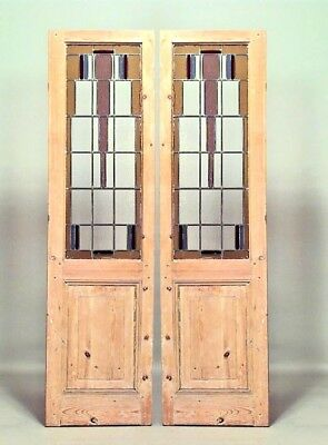 Pair of American Mission Doors with Geometric Clear and Stained Leaded Glass