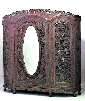 Asian Chinese style large carved teakwood 3 door armoire cabinet with oval mirro