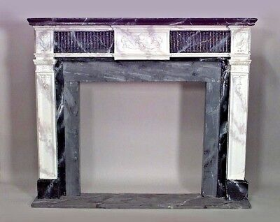 English Georgian Style Painted Fireplace Mantel with Fluted Frieze Top Section