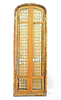 3 French Victorian stripped arch top doors with leaded glass panels and locks (P