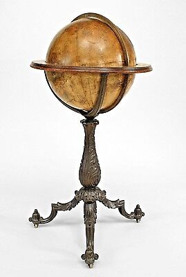 English Victorian globe of world on iron pedestal base with 3 legs (circa 1832)