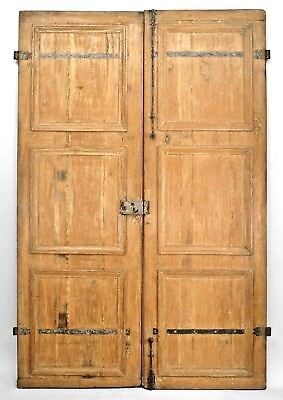 Pair of French Provincial style (19th Cent) stripped pine doors with iron hardwa