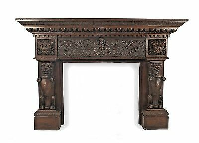 English Renaissance style (19th Cent) carved mahogany lion side fireplace mantel