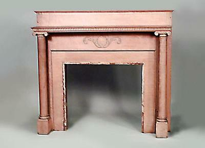 American Country style stripped fireplace mantel with single column sides and ba
