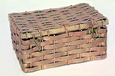 American Victorian Style (19/20th Cent) Small Brass Rectangular Shaped Woven Box