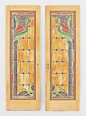Pair of French Art Nouveau stripped framed doors with multicolored leaded glass
