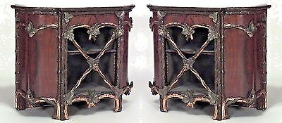 Pair of Rustic Continental (19th Cent) Painted and Gilt Trimmed Commodes