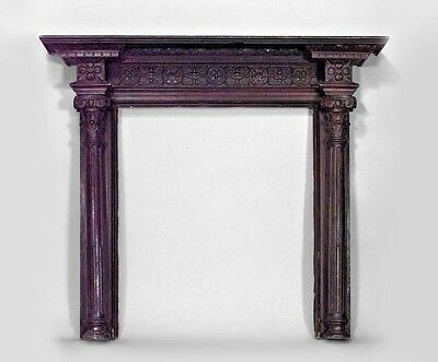 English Georgian Style (19/20th Cent.) Stained Oak Carved Fireplace Mantel