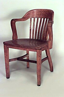American Victorian Style (19/20th Cent) Oak Slat Back Arm Chair