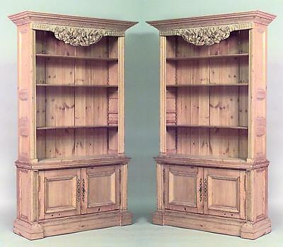 Pair of English Country (19/20thCent) stripped pine bookcase cabinets with open