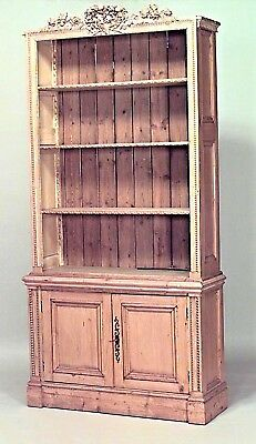 English Country (19/20th Cent) stripped pine bookcase cabinet with 2 doors at ba