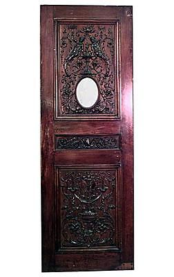 Italian Renaissance style (19th Cent) carved walnut door panel with oval glass i
