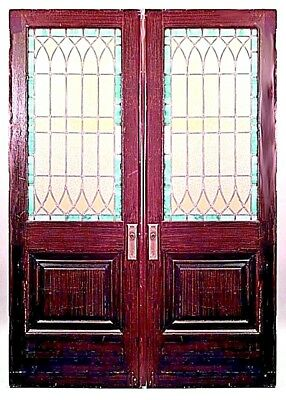 English Gothic style (19th Cent) large painted faux wood doors with amber leaded