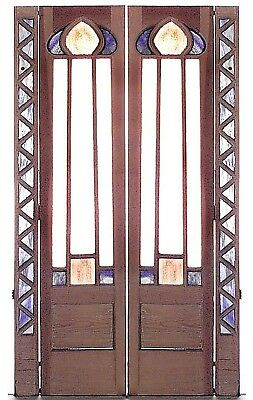 Pair of English Arts and Crafts Stripped and Painted Beveled Glass Paneled Door