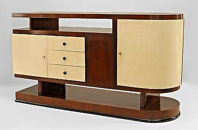 Italian 1930s Walnut Sideboard with Parchment Veneered 2 Doors & 3 Drawers