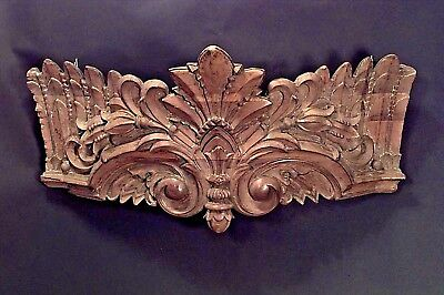 Carousel style (19th Cent) stripped and carved wall plaque (valance) with crown