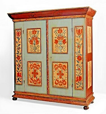 """American (18th Cent.) German Style Blue/Grey Painted Armoire """"Kas"""" Cabinet"""