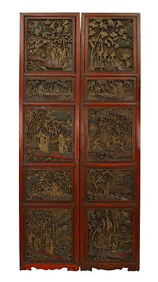 Pair of Asian Chinese style red lacquered carved filigree door panels with scene