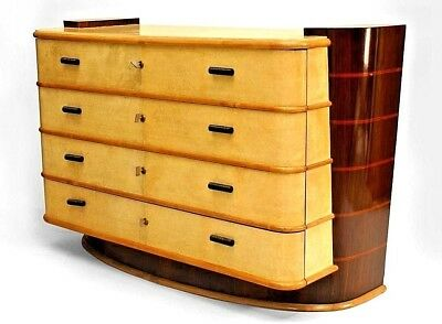 Italian 1940s Parchment Veneer Chest of Drawers
