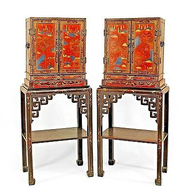 Pair of Asian Chinese (19th cent.) Decorated Lacquered Small 2 Door Cabinets